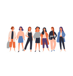 Women diverse group flat vector