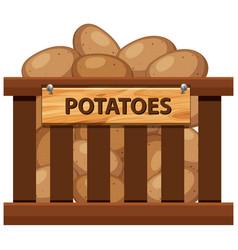 Wooden crate of potato vector