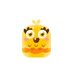 Yellow Adorable Chick Square Icon vector