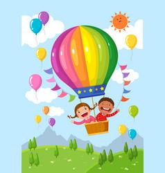 cartoon kids riding a hot air balloon over the vector image vector image