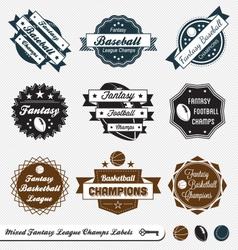 Mixed Fantasy Sports Labels vector image vector image