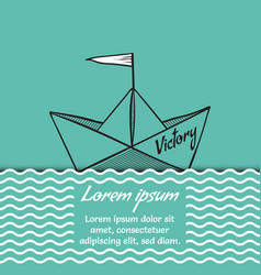 origami paper ship victory on sea waves vector image vector image