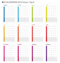 Calendar 2014 French Type 6 vector image vector image