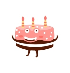 Chocolate Birthday Cake With Three Candles vector image
