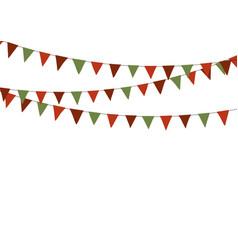 christmas triangle bunting flags in green and red vector image vector image