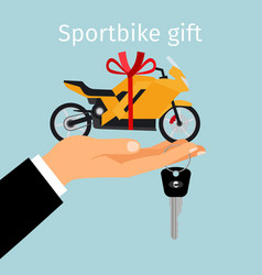 man hand holding gift sportbike vector image vector image