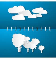 Paper Clouds and Trees on Blue Notebook Background vector image