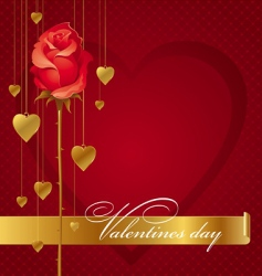 red rose and hanging hearts vector image