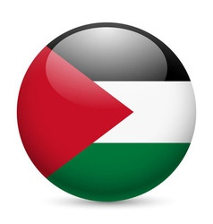 Round glossy icon of palestine vector image