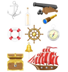 set of sea antique icons vector image