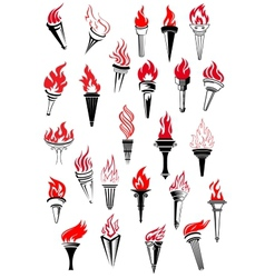 Flaming torches in vintage style vector image vector image