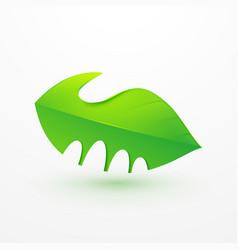 handshake between human hand and tree logo icon vector image vector image
