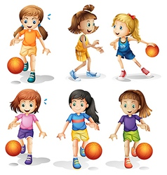 Little female basketball players vector image vector image
