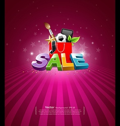 Sale message shopping bag vector image