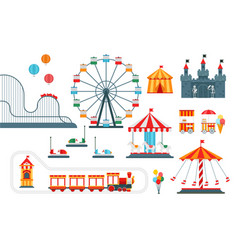 Amusement park flat elements isolated on vector