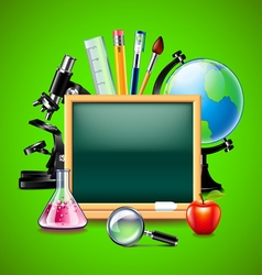 Blank green blackboard and other school tools vector image vector image