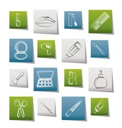 make up and hairdressing icons vector image