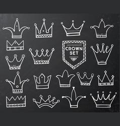 set of hand drawn cartoon crowns on black vector image vector image