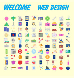100 universal icons for web design on different vector