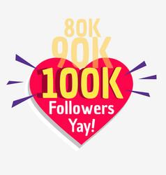 100k social followers success message poster vector image