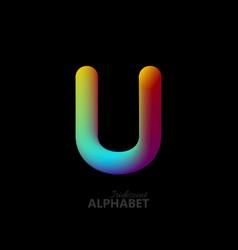 3d iridescent gradient letter u vector