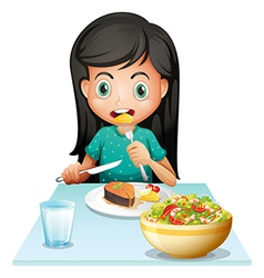 A girl eating her lunch vector