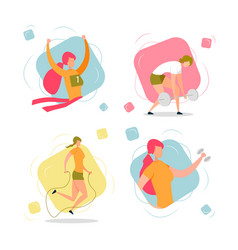 active woman cartoon character sport training set vector image