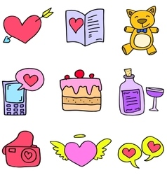 Art of love theme doodles vector
