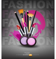Background with cosmetics and make-up objects Flye vector