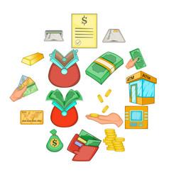 bank loan credit icons set cartoon style vector image