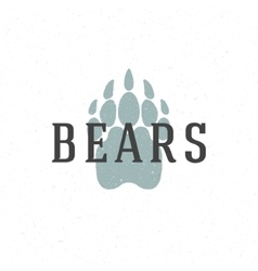 Bear trail hand drawn logo emblem template vector image