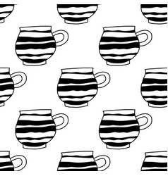 Black and white tea cups or coffee vector