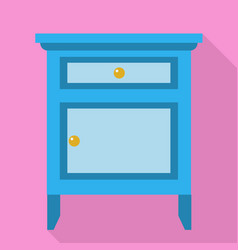 Blue nightstand icon flat style vector