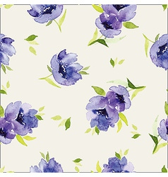 Blue watercolor flowers seamless pattern vector