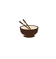 Bowl chopsticks wood ivory or plastic logo vector