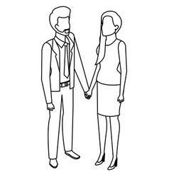 business couple avatars characters vector image
