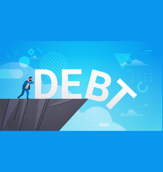 Businessman pushing debt in abyss freedom finance vector