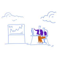 businessmen financial analytics brainstorming vector image