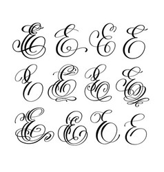 Calligraphy lettering script font e set vector