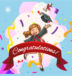 card template for congratulations with woman in vector image