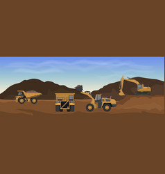 career machinery loader excavator and dumper vector image