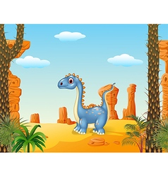 Cartoon cute dinosaur with prehistoric background vector