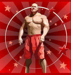cartoon male athlete in red shorts on red vector image