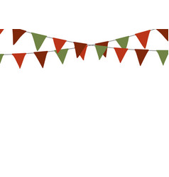 christmas triangle bunting flags in green and red vector image