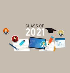 Class 2021 education graduate college icon vector