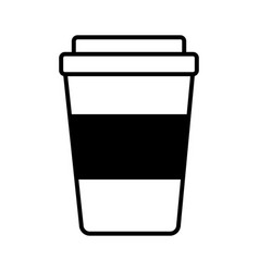 coffee plastic container drink line style icon vector image