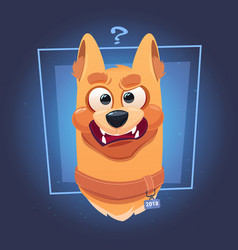 Confused dog face with question mark on blue vector
