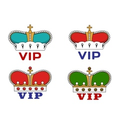 Crowns with vip sign vector