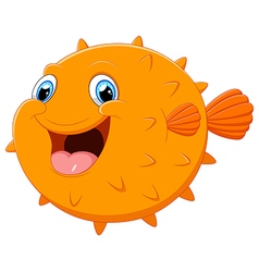 Cute puffer fish cartoon vector