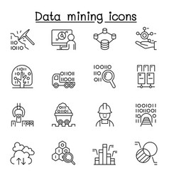 Data mining big data data warehouse icon set in vector